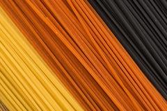 Drie kleurendeegwaren Stock Foto