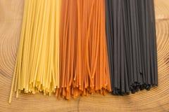 Drie kleurendeegwaren Royalty-vrije Stock Foto's