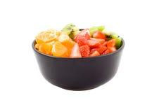 Drie kleurengezondheid, kiwi, mandarijn en aardbeien Stock Foto