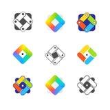 Drie kleurenpictogrammen op kartonmarkeringen Bedrijfsembleem Stock Fotografie