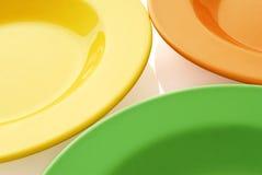 Drie kleurenplaten Royalty-vrije Stock Afbeeldingen