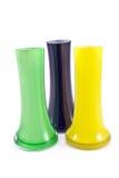 Drie kleurrijk glas vases Stock Afbeeldingen