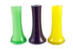 Drie kleurrijk glas vases Stock Afbeelding