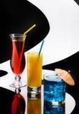 Drie kleurrijke cocktails Royalty-vrije Stock Foto