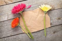 Drie kleurrijke gerberabloemen met document voor exemplaarruimte stock foto