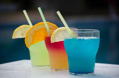 Drie Kleurrijke Glazen van de Cocktail Royalty-vrije Stock Fotografie