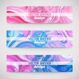 Drie kleurrijke horizontale banners Marmeren textuur royalty-vrije illustratie