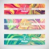 Drie kleurrijke horizontale banners Marmeren textuur stock illustratie