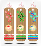 Drie kleurrijke kortingskaart Stock Afbeelding