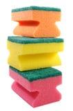 Drie kleurrijke sponsen. Stock Foto