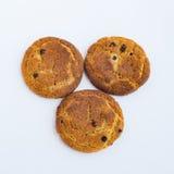 Drie koekjes op een witte achtergrond Stock Afbeeldingen