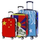 Drie koffers met het beeld van de vlaggen Stock Foto's