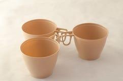 Drie koffie plastic koppen Royalty-vrije Stock Afbeelding