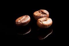 Drie koffiebonen. stock afbeeldingen