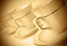 Drie koffiekoppen Stock Foto