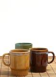 Drie koffiekoppen Royalty-vrije Stock Foto's
