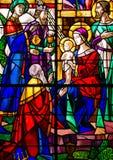Drie Koningen bezoeken Jesus Stained Glass Royalty-vrije Stock Afbeelding
