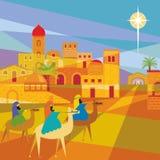 Drie Koningen die Bethlehem ingaan vector illustratie