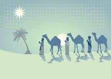 Drie koningen die met kamelen reizen Stock Fotografie