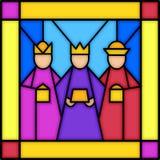 Drie koningen in gebrandschilderd glas royalty-vrije illustratie
