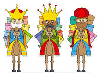 Drie Koningen op kamelen stock illustratie