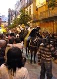 Drie Koningen paraderen in Sevilla, Spanje Stock Foto's