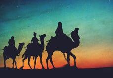 Drie Koningen verlaten het Concept van de Kerststergeboorte van christus Stock Foto