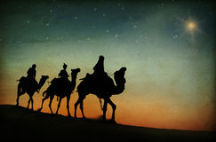 Drie Koningen verlaten het Concept van de Kerststergeboorte van christus Royalty-vrije Stock Afbeeldingen