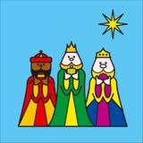 Drie koningenblauw stock illustratie