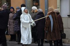 Drie koningenparades in Kaunas, Litouwen stock fotografie