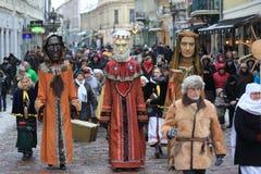 Drie koningenparades in Kaunas, Litouwen stock foto's