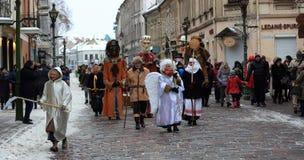 Drie koningenparades in Kaunas, Litouwen stock afbeelding