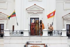 Drie koningenparades in Kaunas, Litouwen royalty-vrije stock afbeelding
