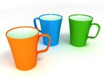 Drie koppen op witte achtergrond Stock Afbeelding