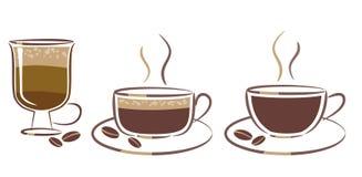Drie koppen van koffie Stock Afbeeldingen