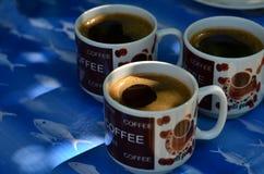 Drie koppen van koffie Royalty-vrije Stock Afbeeldingen