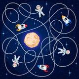 Drie kosmonauten en ruimtevaartuig drie drijven in open plek rond een gele planeet met kraters stock illustratie