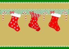 Drie Kousen van Kerstmis Stock Afbeelding
