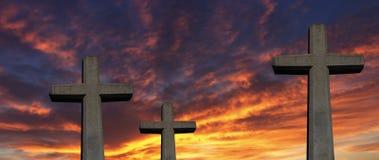 Drie kruisen bij zonsondergang Stock Foto