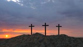 Drie kruisen bovenop een heuvel stock afbeelding