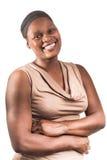 Drie Kwart Portret van Afrikaanse Dame op Wit stock fotografie
