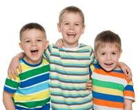 Drie lachende jongens Stock Foto