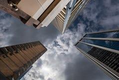 Drie lange rechte gebouwen Royalty-vrije Stock Fotografie