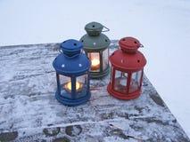 Drie lantaarns stock afbeeldingen