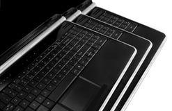 Drie laptop stapel Royalty-vrije Stock Foto