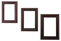 Drie leeg houten beeldkader stock afbeelding