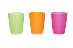 Drie leeg kleurenglas Stock Afbeelding