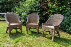 Drie lege stoelen Stock Fotografie