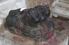 Drie leidden Nandi-stier, Hampi, Karnataka, India royalty-vrije stock afbeeldingen