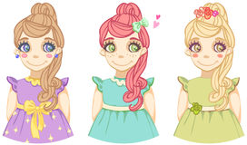 Drie leuke beeldverhaal gekleurde meisjes Stock Afbeeldingen